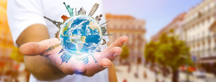 Man travelling the world Royalty Free Stock Photos