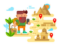 Man travels around the world. Trip and tourism, holiday tourist, vacation summer, flat vector illustration Royalty Free Stock Photography