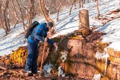 Man enjoying the winter landscape royalty free stock images