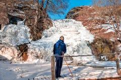 Man enjoying the winter landscape stock photo