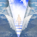 Man travels up stairway. Into heavens Royalty Free Stock Images