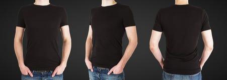 Man tre i svart t-skjorta royaltyfri foto