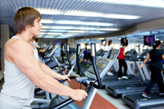 Man on the treadmill Royalty Free Stock Photos
