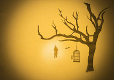 Man and tree cell Stock Image