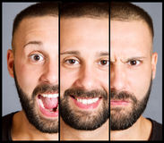 Man with tree differetn expression Stock Photography