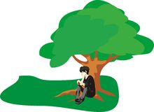 Man and tree Stock Images