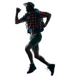 Man trekker trekking running happy  silhouette Stock Images