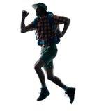 Man trekker trekking running happy  silhouette. One caucasian man trekker trekking running happy  in silhouette isolated on white background Stock Images