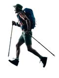 Man trekker trekking running happy  silhouette Royalty Free Stock Images
