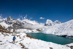 Man is trekking near Gokyo lake in Everest region, Nepal. Man is trekking near Gokyo lake in Everest region. Nepal Stock Photos