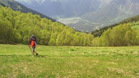 Man trekking poles carries baby in hiking carrying. Trekking green slope hill. Man with trekking poles carries baby in hiking carrying. Trekking trail on green stock video footage