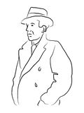 Man in trenchcoat. Vector illustration of a man in an old-fashioned trench coat and hat in outlines Royalty Free Stock Images