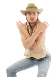 Man trendy cowboy handsome. Isolated on white background Royalty Free Stock Images