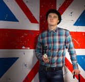 Man in Trendy Fashion In Front Britain Flag Royalty Free Stock Photos
