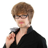 Man trendy handsome  on white Royalty Free Stock Image