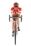 Man triathlon athlete. With racing bike isolated on white background Stock Photography