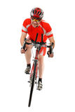 Man triathlon athlete. With racing bike isolated on white background stock images