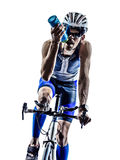 Man triathlon iron man athlete cyclist bicycling Stock Image