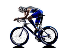 Man triathlon iron man athlete cyclist bicycling Stock Photos