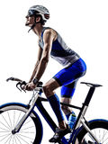 Man triathlon iron man athlete cyclists bicycling Royalty Free Stock Image