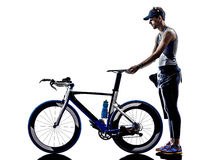 Man triathlon iron man athlete equipment Royalty Free Stock Photos