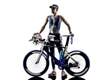 Man triathlon iron man athlete equipment Royalty Free Stock Photography