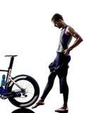 Man triathlon iron man athlete equipment Royalty Free Stock Image