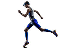 Man triathlon iron man athlete runners running. In silhouette on white background Royalty Free Stock Image