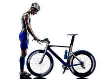 Man triathlon iron man athlete. In silhouette on white background Royalty Free Stock Image