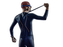 Man triathlon iron man athlete swimmers portrait Stock Photo