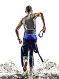 Man triathlon iron man athlete swimmers running Stock Photos
