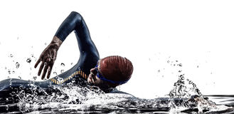 Man triathlon iron man athlete swimmers swimming Stock Photography