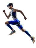 Man triathlon ironman athlete runners running. Man triathlon iron man athlete runners running in silhouette on white background Royalty Free Stock Image