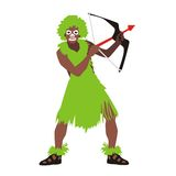 Man tribe green. Illustration of a man from the tribe wearing green clothes holding a bow and arrow Stock Photo