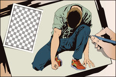 Man tries to get up from his knees. Stock illustration. People i Stock Images