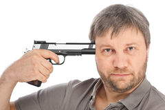 Man tries to shoot himself Stock Photo