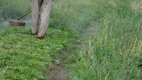 Man trimmer cut grass. Closeup man worker with trimmer cuts grass on rural road after rain. Water drops rise up stock video