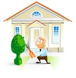 Man trimming a bush in front the house. Royalty Free Stock Images