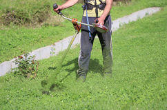Man trimming the grass Royalty Free Stock Photography
