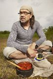 Man on trip relaxing and taking break in nature royalty free stock photo
