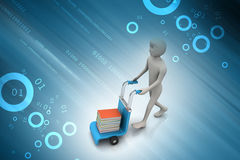 Man with trolley for delivering books Stock Image