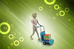 Man with trolley for delivering books Stock Photos