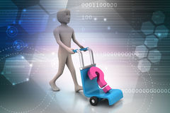 Man with trolley for delivering question mark Royalty Free Stock Images