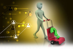 Man with trolley for delivering question mark Royalty Free Stock Photography