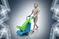 Man with trolley for delivering right mark Royalty Free Stock Photography