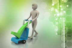 Man with trolley for delivering right mark Royalty Free Stock Image