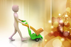 Man with trolley for delivering right mark Stock Photography