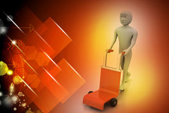 Man with trolley for delivery Royalty Free Stock Photo