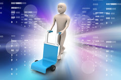 Man with trolley for delivery Stock Photo
