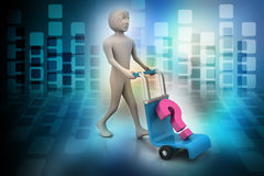 Man with trolley for delivery Royalty Free Stock Image